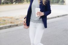 16 navy, grey and white outfit with a blush crossbody bag and leopard flats