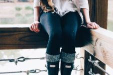 16 navy jeans, a white sweater, a plaid scarf, leg warmers
