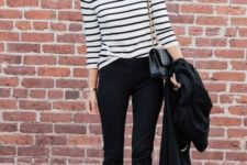 16 stripes, skinny jeans and heels