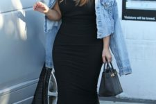 17 black maxi dress and strap heels