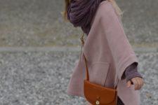 17 grey leggings, a pink coat and polka dot chucks