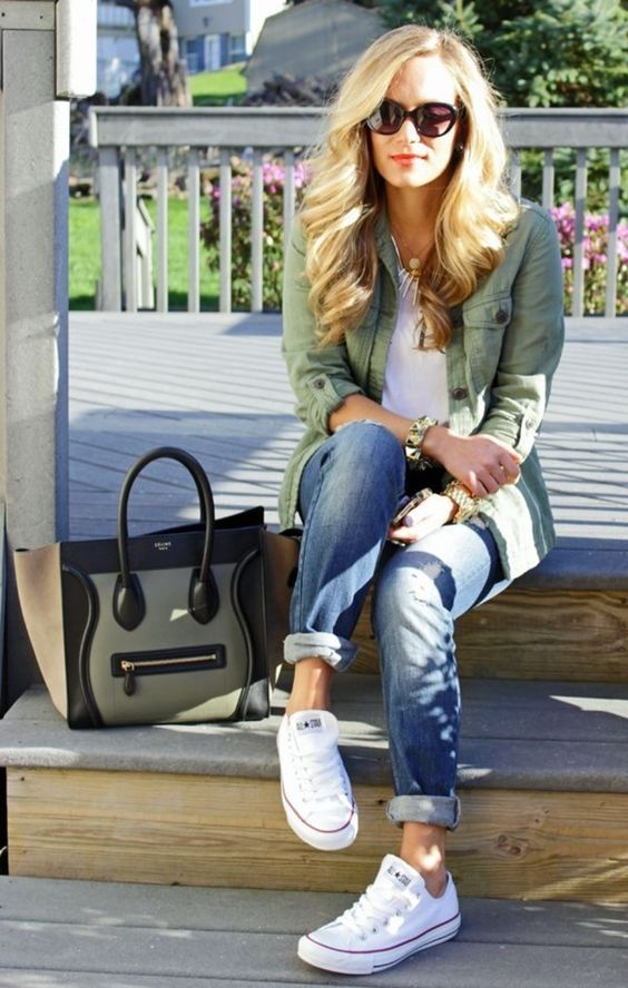 jeans, a white tee, white Converse and an olive green jacket