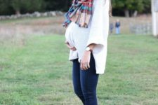 17 navy denim, a white oversized sweater, a plaid scarf and ankle boots