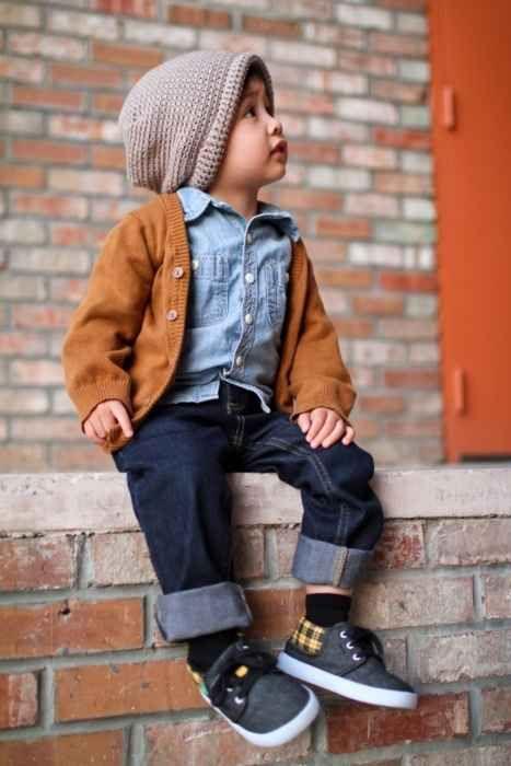 navy jeans, a denim shirt, an amber cardigan and grey chucks