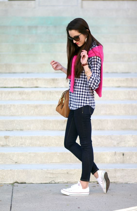 navy skinnies, a checked shirt, a pink sweater