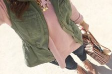 17 pink sweater, blue jeans, nude flats, an olive green vest