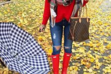 17 ripped denim, a red jersey, a plaid scarf and red rain boots
