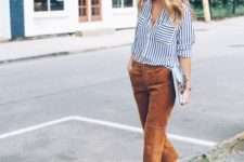 17 velvet cropped pants, a striped shirt and heels