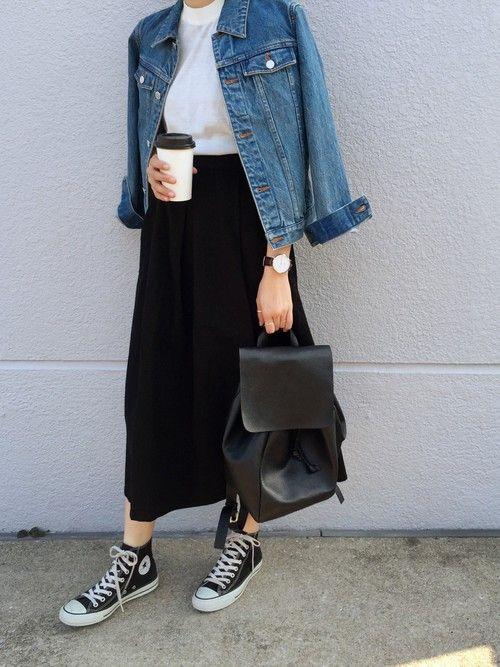 black maxi skirt, a white tee, high black Converse