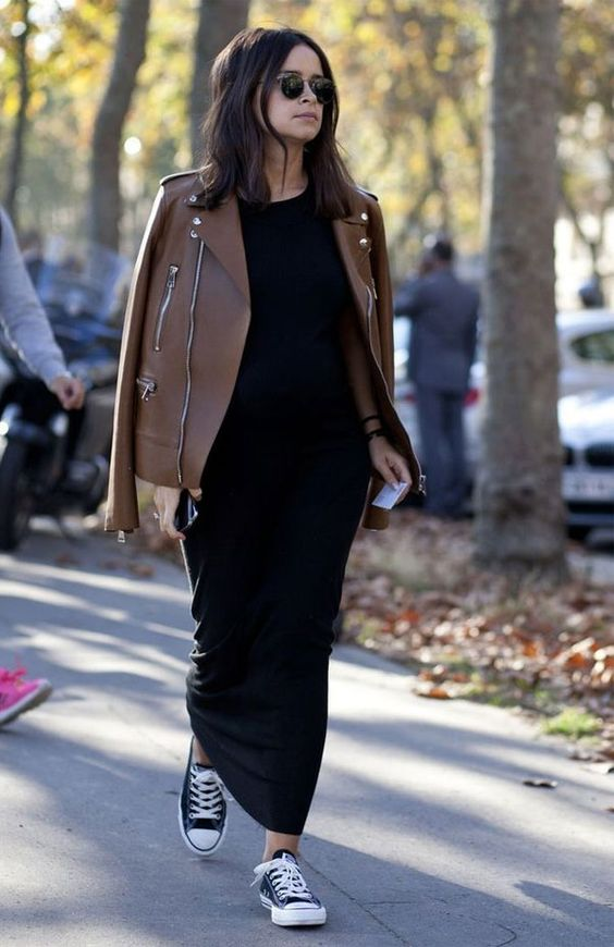 brown leather, a maxi black dress and black Converse