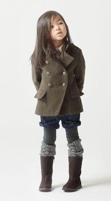 grey short coat, denim shorts, leg warmers and boots