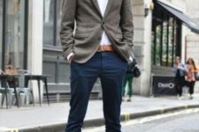 18 navy pants, a white shirt, a grey blazer and ocher accents