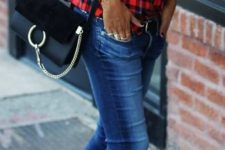 18 red plaid button down, skinnies and leopard lace up flats
