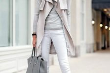 18 white jeans, a grey tee and oversized cardigan and shoes