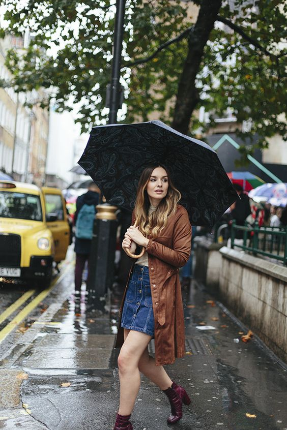 a denim button down skirt, burgundy ankle boots and a cognac coat