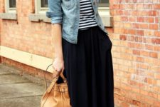 19 black skirt, a striped tee, brown cutout booties and a statement necklace