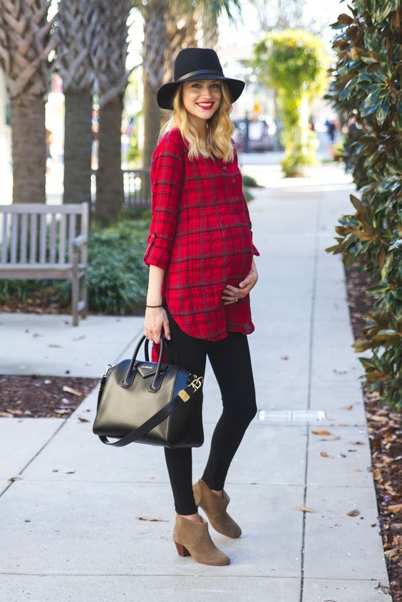 red plaid shirt, black jeans, ankle boots