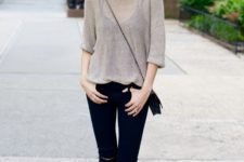 19 sheer top, a black top, black skinnies and lace up flats