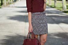20 a burgundy shirt, a neutral printed skirt and leopard-print flats