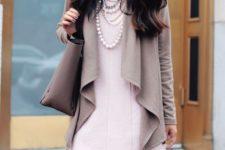 20 a drape cardigan, a rose quartz shift dress, pearls for the office