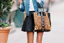 20 brown ankle suede boots, a black skirt, a tote