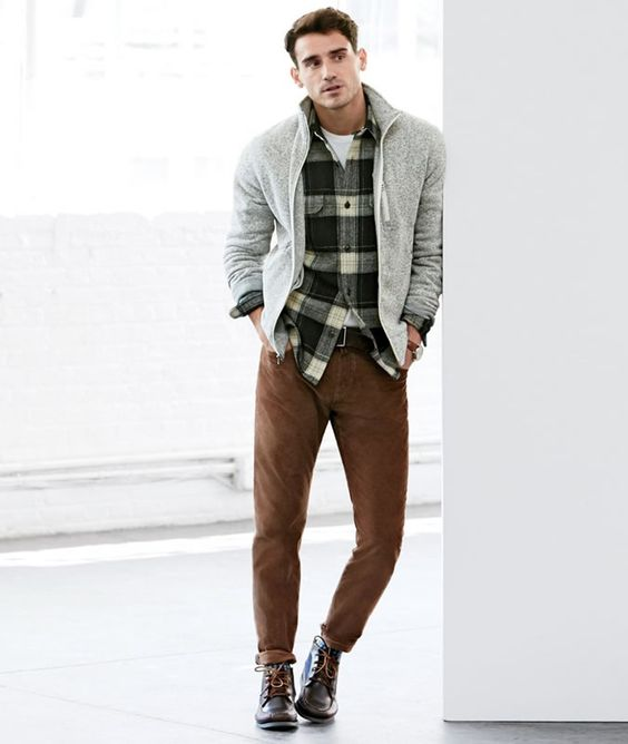 brown trousers, a plaid shirt, a grey cardigan and brwon boots
