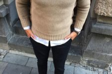 20 nude sweater, black pants, tan shoes