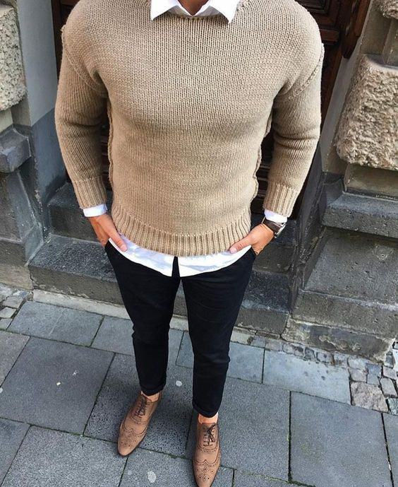 nude sweater, black pants, tan shoes
