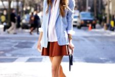 21 A-line skirt, a white button down, a serenity blazer and blue shoes