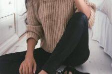 21 a camel turtleneck knit, black lace up flats and black leggings