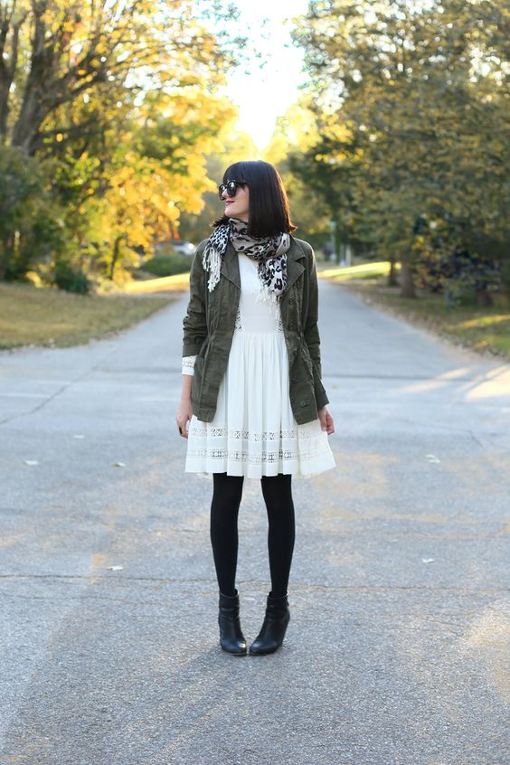 21 a cream dress for fall, army jacket, black tights