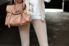 21 a cream sweater, nude skinnies, a matching scarf and high brown boots