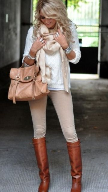 a cream sweater, nude skinnies, a matching scarf and high brown boots