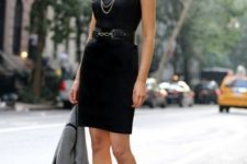 21 a little black dress with black shoes styled for an interview