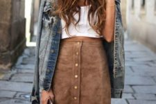 21 button down suede brown skirt, a white top