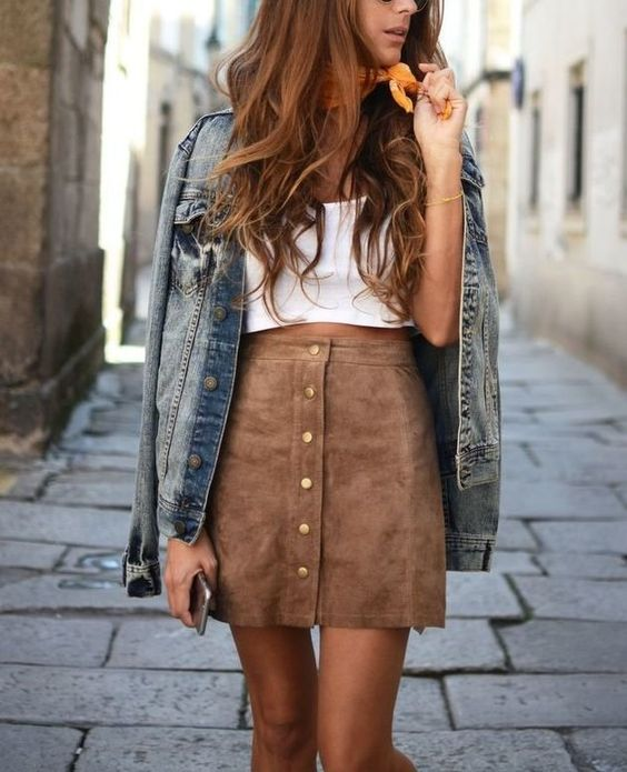 button down suede brown skirt, a white top