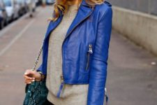21 dazzling blue cropped jacket, a grey sweater and black jeans