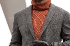 orange sweater men work outfit