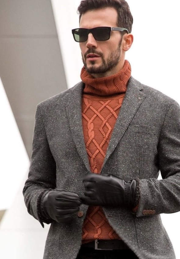 orange sweater, a blazer, vintage sunglasses and gloves looks great in this stylish fall outfit