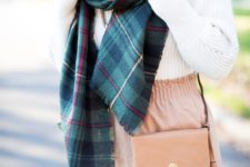22 a plaid blanket scarf, a chunky knit sweater and a blush mini skirt