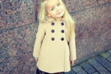 22 long cream coat with brown boots