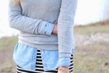 23 a striped dress, a chambray shirt and a grey jersey
