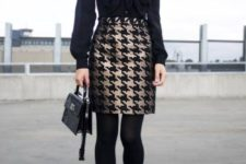 23 an all-black look with a patterned skirt