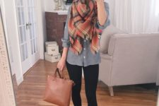 23 black leggings, a grey shirt, tan lace up flats and a plaid scarf