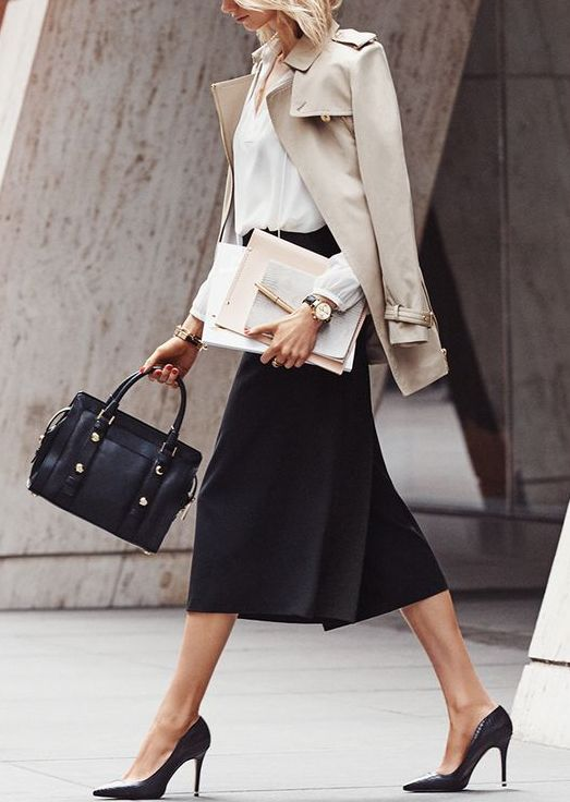 black midi skirt, a white button down, a nude jacket and heels