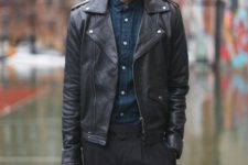 23 black trousers, a plaid shirt, a black leather jacket