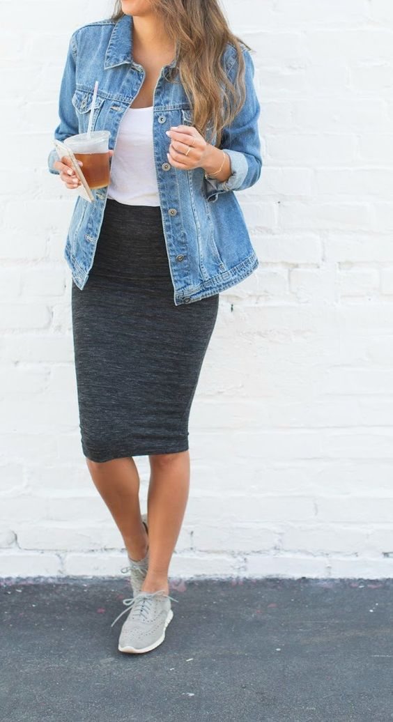 grey chucks, a dark grey skirt and a white top