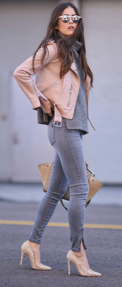 grey jeans, a grey sweater, glitter shoes and a blush jacket