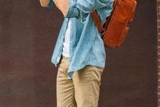 23 tan trousers, a denim overshirt, a white tee and chucks