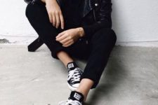 24 all-black outfit with a leather jacket